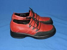 Dansko 38 7 7.5 Red Black Janika Shoes Lace Up Tie Oxford Clogs Leather 7 1/2