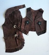 Superior Qlty Brown Suede Halloween costume Western Cowboy Kid Youth Chaps S/M/L