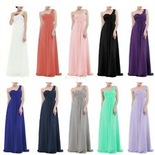 Women Chiffon One-shoulder Pleated Bridesmaid Dress Long Evening Party Prom Gown
