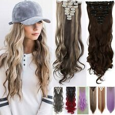 Full Head Clip in Hair Extensions Ombre 8 Pieces Wavy Curly Straight Real Thick