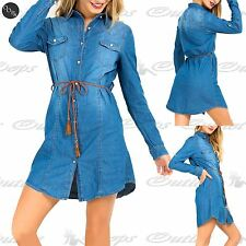 Womens Ladies Collared Button Belted Jacket Pocket Tunic Denim Long Shirt Dress