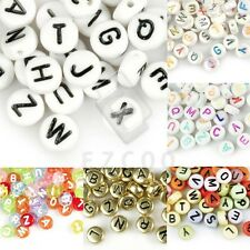 70pcs Acrylic Alphabet Letter Beads Flat Round Jewelry Making DIY 7x7mm Lots YB