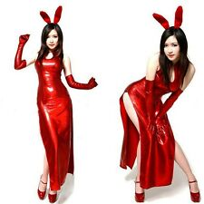 Adult Girl Sexy Red Rabbit Bunny Halloween Party Cosplay Costume Fancy Dress