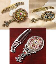 2 PC SILVER, GOLD FLOWER, or BUTTERFLY Jeweled VANITY SET Comb & Mirror Heirloom