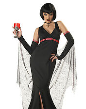 Womens Black Gothic Devil Vampire Queen Adult Halloween Costume Outfit S-XL