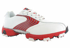 Hi-Tec Golf HT Sport White Red Waterproof Dri-Tec Mens Leather Shoes Trainers