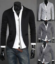 Fashion New Men Casual Slim Formal One Button Suit Blazer Coat Basic Jacket tr18