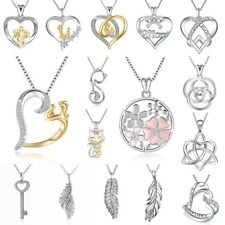 Women's Jewelry New European Love Heart Silver Charms Pendant Necklace Chain