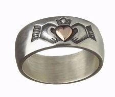 Antique Finish Sterling Silver Gold Irish Celtic Claddagh 8mm Band Ring