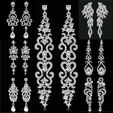 Elegant Women Rhinestone Tear Drop Dangle Earrings For Wedding Bridal Jewelry