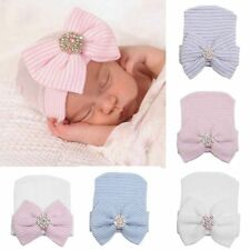 New Baby Infant Striped Hospital Beanie Cap Newborn Soft Bow Rhinestone Warm Hat