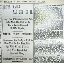 2 1892 BOXING MATCH newspapers BOB FITZSIMMONS defeat PETER MAHER New Orleans LA