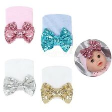 Cute Baby Girls Infant Soft Cap Hospital Newborn Beanie Hat with Sequined Bow
