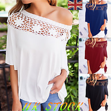 UK Women Hollow Cut Out Blouse Party Prom 3/4 Sleeve Top One Shoulder Tee Shirt