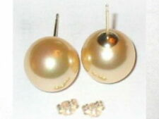 6mm 8mm 10mm GOLDEN GOLD Shell Pearl Stud Earrings 14K Solid Yellow Gold Posts