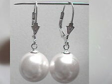 6mm 8mm 10mm WHITE Sea Shell Pearl Dangle EARRINGS LEVERBACK 925 Sterling Silver