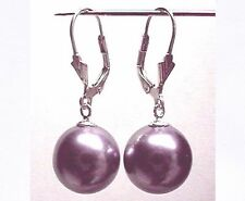 6mm 8mm 10mm PURPLE Sea Shell Pearl Dangle EARRINGS LEVERBACK Sterling Silver