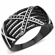 Three X Two-Tone Black IP Stainless Steel Mens Light Band Designer Ring
