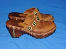 Ariat Size 9 Brown Leather Clogs Slides Heels Shoes Beaded Green Flower Suede