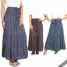 Womens Ladies Casual Floral Tired Boho Gypsy Hippie Summer Pleatead Maxi Skirt