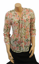 New Sheer Floral Crepe chiffon Vtg style Pussy Bow Office Work Blouse