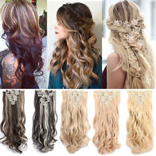 100% Long Thick 8PCS Full Head Clip In Hair Extensions Brown Ombre Dip Dye H43t