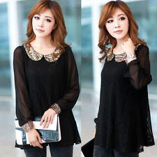 Fashion Women Sequins Collar Lace Casual Party Cocktail Shirt Blouse Tops Black