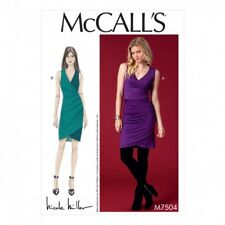 McCalls Ladies Sewing Pattern 7504 Surplice Side Pleat Dresses (McCalls-7504-M)