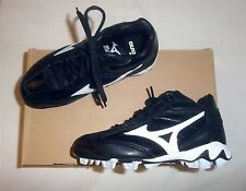 Mizuno 9-Spike Franchise MID G4 Youth Molded Baseball Cleats NEW Black/White