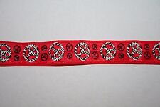 10 yards red Black Peace Signs stretch foldover elastic FOE 5/8""