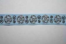 10 yards Baby BLue Black Peace Signs stretch foldover elastic FOE 5/8""