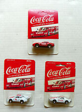 """(LOT OF 3) 1980's """"COCA-COLA"""" (1X) RED & (2X) WHITE DIE-CAST RACING CARS MIP"""