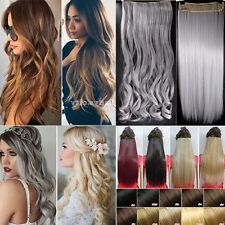 Remy Long Hairpiece One Piece Clip In Hair Extensions 3/4 Full Head Straight Mg