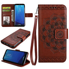 Luxury PU Leather Case Flower Wallet Card Slots Stand Cover For Samsung Galaxy