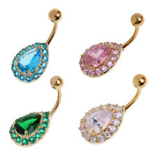 Crystal Navel Belly Bar Ring Navel Belly Button Body Ball Piercing Jewellery