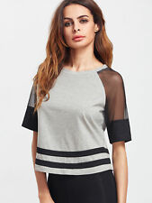 Summer Women Basic T Shirts Cotton Voile Sleeves Short Tee Crop Tops Gray Casual