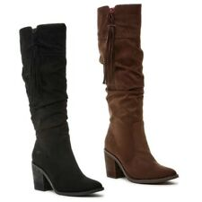 Rocket Dog DAY Ladies Womens Faux Suede Leather Zip Block Heel Knee High Boots