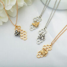 Fashion Cute Silver Golden Honeycomb Honeybee Bee Pendant Necklace Chain Gifts