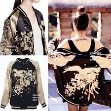 Color Block! Embroidered Bomber Jacket Womens Reversible Embroidery Phoenix Coat