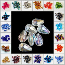 20Pcs Wholesale Faceted Teardrop Glass Crystal Charm Loose Spacer Beads 8x12mm