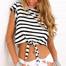 Womens Girls Stripe Cap Sleeve Basic Stretchy Tee T-Shirt Casual Mini Crop Top