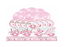 PINK UMBRELLAPHANTS - Baby Shower Girl Party Pack Plates Cups Napkins Banner etc
