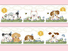 Puppy Dog Nursery Wallpaper Border Wall Art Decals Room Decor Baby Girl Stickers