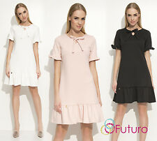 Ladies Cocktail Party Neck With Bow Short Sleeve Ruched Drop Waist Dress FA540