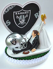 Wedding Cake Topper Humorous Oakland Raiders Themed Football Sports Bride Groom