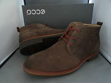 NEW MENS ECCO BIARRITZ MID CUT LACE NUBUCK LEATHER ANKLE BOOTS COCOA BROWN $200+