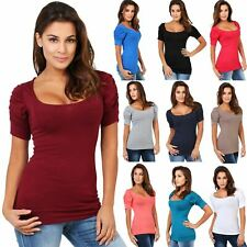 Womens Short Sleeve Tops Scoop Neck Casual Ruched Pleated Plain Jersey T Shirt