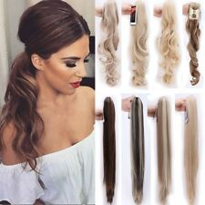 Claw On Ponytail Real Thick Clip In Hair Extensions Long Straight Wavy Hair L37