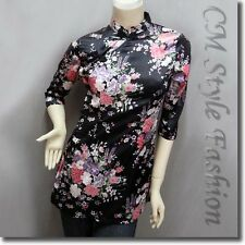 Chinese Cheongsam Qipao Style Floral Satin Tunic Top Black XS/S/L/XL