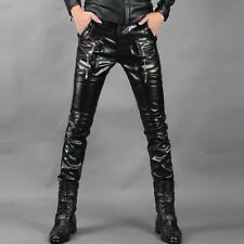 Fashion Punk Mens Rock Band PU Leather Zipper Motorcycle Gothic Pants Trousers